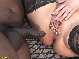extreme pierced fat natural boobs german milf  deep anal fucked by  black monster cock