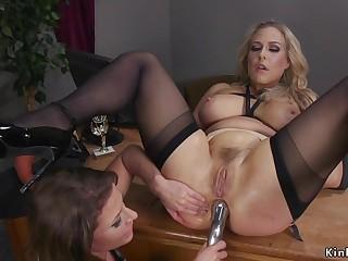 Lesbian wrestler anal sex toys heavy-breasted auriferous hair lady