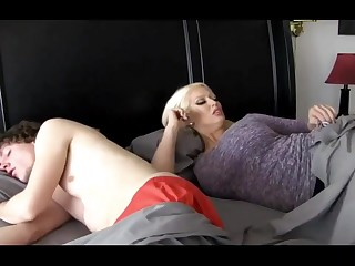 Super-Sexy ash-blonde main with massive breasts is plumbing her step- son-in-law because she loves his hard-on