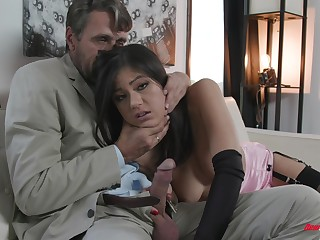 Kendra Spade bent over and pounded hardcore in stockings