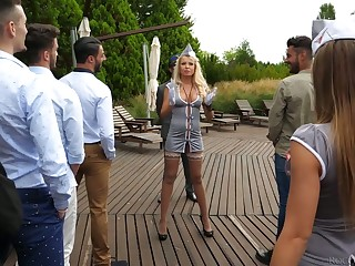 Polish hooker Joanna Bujoli and her girls are fucked by horny studs convenient the abstinent party