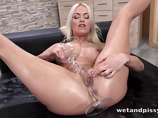 Convenience and firm body greater than a dildo fucking and pissing blonde babe