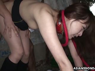 Sluttishly awaiting Asian chick Sayo Hayakawa is fucked by two horny guys