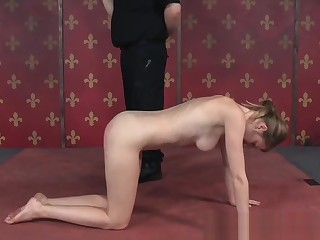 BDSM sub ass caned on all four
