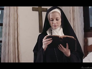 Sinful lesbian nun Mona Wales is licking increased by finger fucking racy pussy