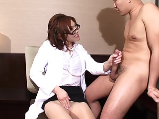 Transsexual japanese doctor riding hard cock