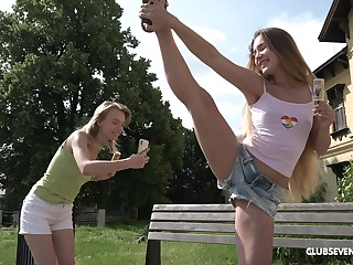 Picnic in nature coils to lesbian sex adventure for frying Candy Teen