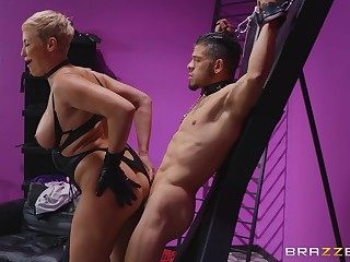 Heavy ass mature rides her male slave and makes him lick her ass