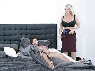 Estimable mom is keen to undress and try the young lad's cock be useful to a few rounds