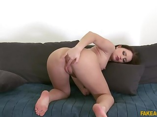 Sexy brunette student fucked hard in casting