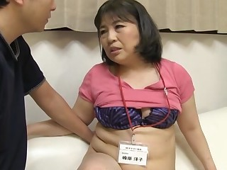 Chubby Japanese amateur gives a blowjob and rides his stiff cock